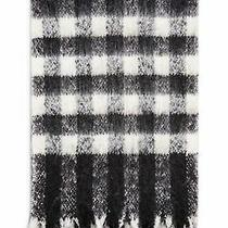 25c64 One Size New Women's Topshop Heavy Brush Check Scarf in Black & White Photo