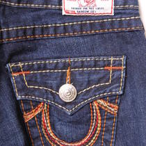 (26) Nwt True Religion Joey Old Multi Rainbow Big T Dark Pony Express Flare Jean Photo