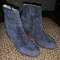 265 Eileen Fisher Harper Blue Suede Booties Sz 8.5 Photo