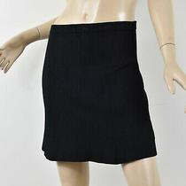 265 Theory Solid Black Textured Knit Teslia J Glossed Flared Mini Skirt P Xs Photo