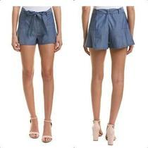 268 Parker Chambray Belted Shorts Sz M 100% Cotton Denim Jean Resort Cruise Photo