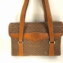 2729 Auth Vintage Gucci Gg Monogram Leather Pvc Beige Shoulder Hand Bag Junk Photo