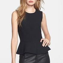 274 Nwt Joie Jourdine Sleeveless Wool Crepe Peplum Black Top Shirt S Photo