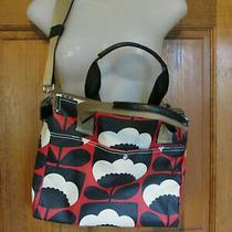 275 Orla Kiely Watson Messenger Shoulder Bag Tote Red Black White Spring Bloom  Photo