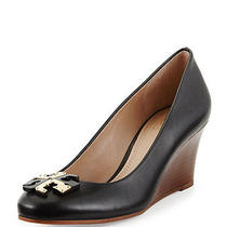 275 Sz 6 Tory Burch Lowell Black Genuine Leather Wedge New Logo Pumps Shoes New Photo