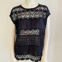 278 Joie Women's Black Sigrid Crochet Top (S) Photo