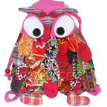 27x36cm Pink-Purple Chinese Handmade Flax Owl Bag Purse T616a54 Photo