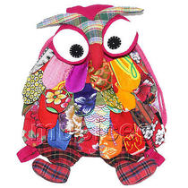 27x36cm Pink-Red Chinese Handmade Flax Owl Bag Purse T619a54 Photo