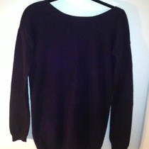 280 Nwt Theory Dark Purple Cashmere Sweater Scoop Back Tunic Medium  Photo