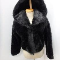 28249 Hooded Black Mink Faux Fur Women's Coat Jacket Size Xs  Express Photo