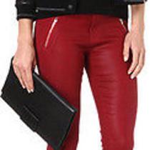 286 J Brand Jeans Carey Moto Capri Crop Skinny 1446 Lacquered Carnelian Red 31 Photo