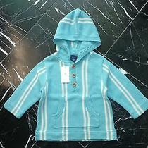29 Nwt Baby Gap Striped Turquoise Blue Hooded Long Sleeve Knited Sweater 3-6 M Photo