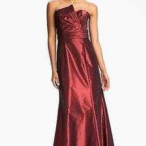 290 Amsale Asymmetrical Neck Taffeta Gown Dress Garnet Red Size 6 Photo