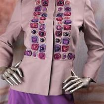 2900 New Alberta Ferretti Beige Blush Purple Embroidered Beaded Jacket 42 6 Photo