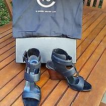 295 10 Crosby Derek Lam Black Campbell Ankle Wrap Wedge Sandal in Size 6 1/2 Photo