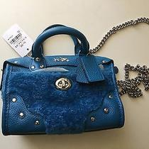295 Coach Rhyder Leather Shearling Satchel/crossbody in Blue Turquoise Photo