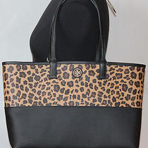 295 Nwt Tory Burch Large Kerrington  Leopard Print Bag Tote Pvc  Black Beige Photo