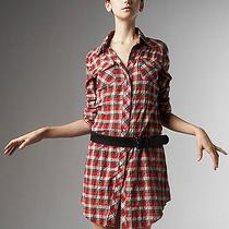 295 Theory Plaid Shirtdress Dress 6 4 Small Western Pearl Snap Grunge Punk  Oi Photo