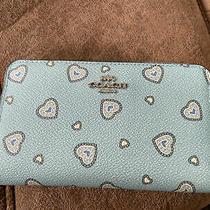 29739 Coach Blue Western Heart Print Medium Zip Around Wallet 160 -Sold Out Photo