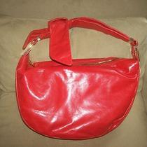 298 Badgley Mischka Carina Slouchy Bag Platinum Label Hobo Bow Orange Nwt Photo