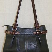 298 Brighton Bk Pebble & Brown Crocodile Embossed Leather Shoulder Tote Handbag Photo