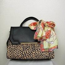 298 Calvin Klein Handbag Black Leopard Genuine Leather Plus 100%Silk Scarf  Photo