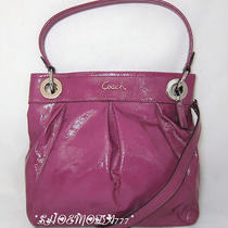 298 Coach Ashley Patent Leather Hippie Bag Purse Messenger Sling Hobo 17953 Photo