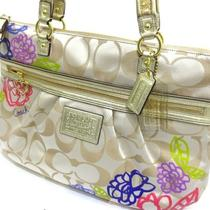 298 Coach F20794 Signature Daisy Applique Glam Tote Bag Light Khaki Multi New Photo