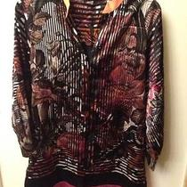 298 Elie Tahari Marney Silk Blouse Top Shirt Small Beautiful & Bright Colors Photo