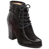 298 Frye Parker Moc Short Lace Up Black Ankle Boots 8.5 Vogue Anthropologie Photo
