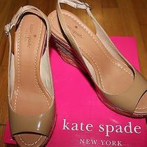 298 Kate Spade Jayney Camel Patent Wedge Sz 6 1/2m Photo