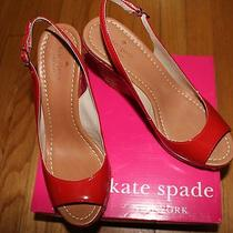 298 Kate Spade Jayney Maraschino Red Patent Wedge Sandals Sz 7 1/2m Us Photo