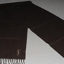 298 Nwot Yves Saint Laurent 100% Wool Scarf 12x65 Made in Italy Brown Color Photo