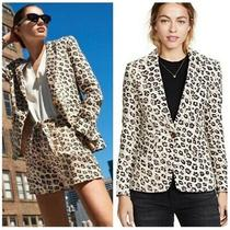 298 Retail Joie Anilah Leopard Animal Print Linen Blazer Women's Size 2 Photo