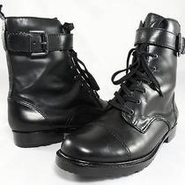 298 via Spiga Noble Lace Up Military Cap Toe Combat Boots Womens Shoes 7.5 37.5 Photo