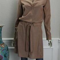 2990 New Akris Beige Brown Caramel Wool Tie Light Blouse Dress Coat Jacket 6 36 Photo