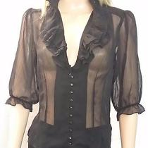 2b Bebe Black Sheer See-Through Button Down Shirt Size Small (T-681) Photo