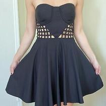 2b Bebe Black Skater Corset Dress Size Small Photo