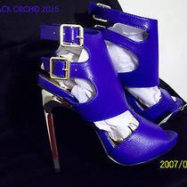 2b Bebe New Royal Blue W/ Metallic Heels 8 Club Party Stripper Exotic  Photo