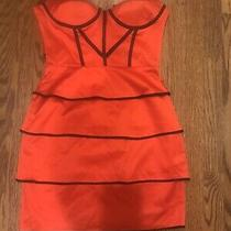 2b Bebe Red Strapless Ruched Corset Sexy Mini Cocktail Dress sz.s Photo