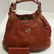 2coach Leather Purse &wallet Reddish Orange Billfold Osu Browns Football Handbag Photo