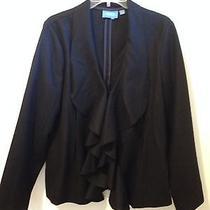 2f) Simply Vera Wang Sz L Black Wool Blazer Jacket Coat Waterfall Lapel Fitted Photo