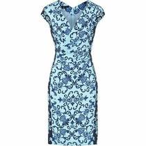 2k Escada Cap-Sleeve Acanthus-Print Sheath Dress Blue 40 10 L Neiman  Photo