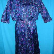 2p Beautiful 50's Vintage Blue/purple/aqua Retro Dress & Matching Jacket Set M  Photo