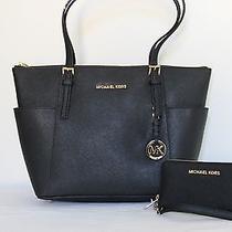 2pc Michael Kors Mk Jet Set Saffiano Black Handbag/tote  Wallet/wristlet Photo