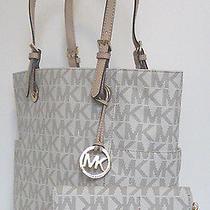 2pc Nwt Michael Kors Mk Vanilla Monogram Signature Jet Set Tote/handbag  Wallet Photo