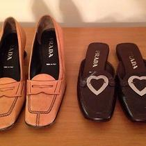 2pc Prada Shoes Loafers Oxford Pumps Heels Tan Slides Brown Womens 7 7.5 Photo