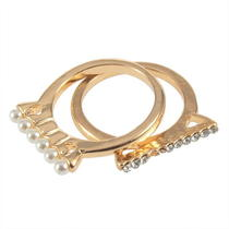 2pcs Fashion Hot Crystal Rhinestone and Imitation Pearl Ring Rings Photo