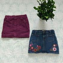 2set Old Navy Girl's Mini Skirt Size 5t Blue Denim With Flowers Purple Velveteen Photo