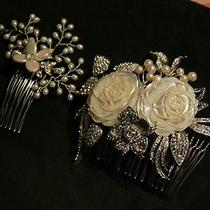 2x Mother of Pearl & Swarovski Crystal Couture Flower Bridal Hair Comb Clips Photo